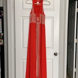 Red/orange maxi dress with beautiful stitch work